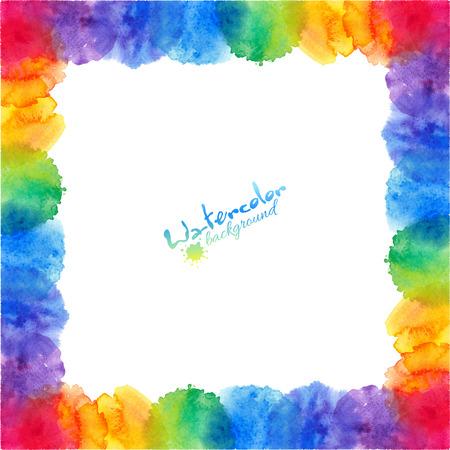 Ilustración de Bright rainbow colors watercolor stains vector frame - Imagen libre de derechos