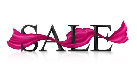 Ilustración de Black vector SALE sign with pink silky ribbon trough it - Imagen libre de derechos