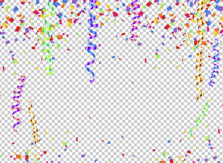 Colorful serpentine and confetti on transparent background, transparency grid imitation