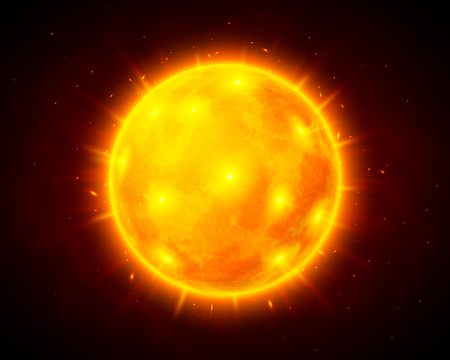 Illustration for Vector sun illustration on dark cosmic background - Royalty Free Image