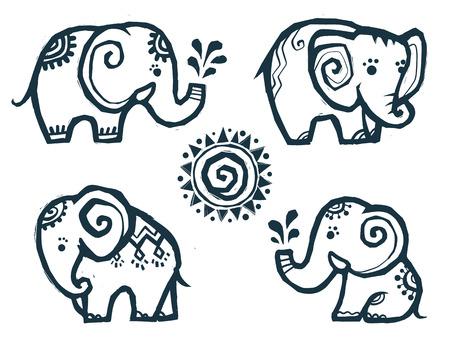 Ilustración de Cute little doodle elephants in Indian style - Imagen libre de derechos