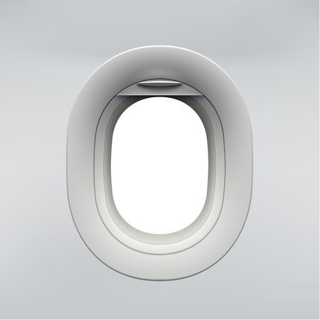 Illustration for Vector realistic airplane window, aircraft illuminator. - Royalty Free Image