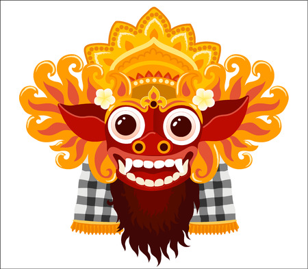 Illustration pour Barong balinese god vector mask in cartoon style isolated on white background. - image libre de droit