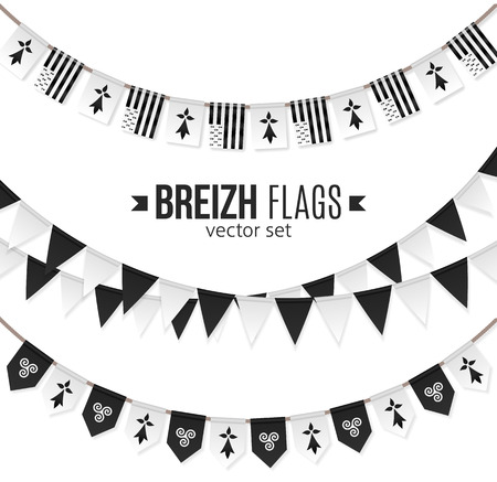 Illustration for Vector flags and symbols of Brittany on garlands with triskels and hermines - Royalty Free Image