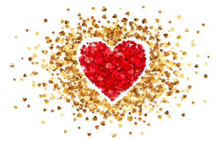 Illustration pour Purple heart in frame of little golden confetti hearts, vector Valentines day card template. - image libre de droit
