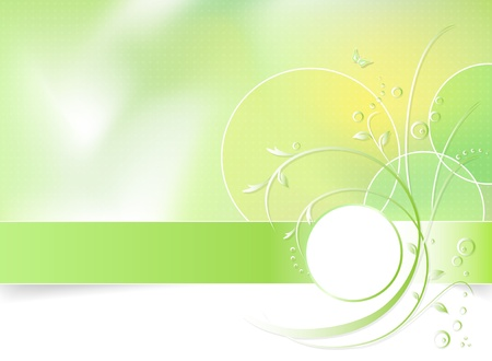 Green Spring Flower Background Greeting Card Abstract