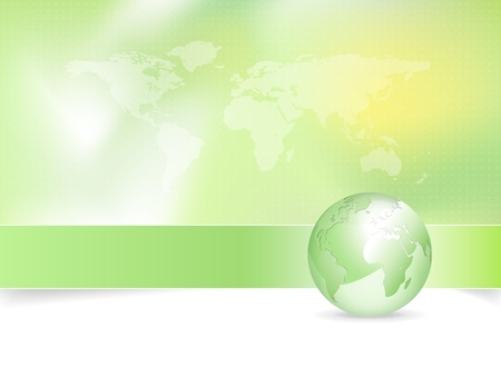 Eco background - green earth design with globe and world map