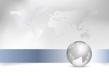 Business map - world map, globe - abstract grey background design with blue banner