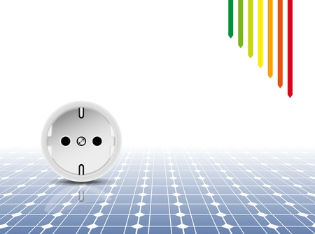 Solar panel with socket, outlet - photovoltaic technology - abstract electricity background