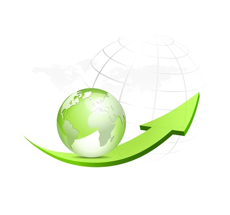 Green globe with arrow and dotted world map in the background - glossy eco symbol - vector illustration