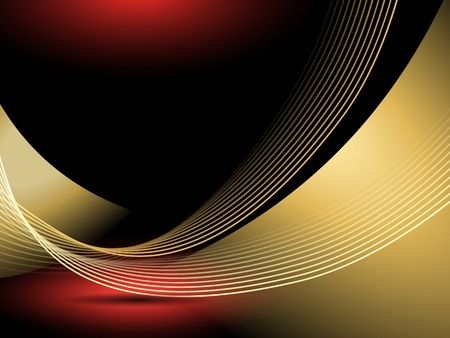 Abstract golden lines against black background with red light