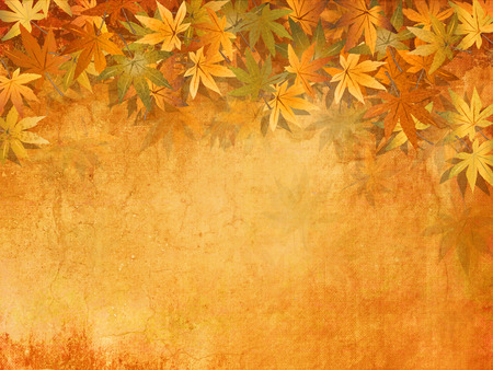 Fall leaves background in yellow orange autumn colors - vintage style