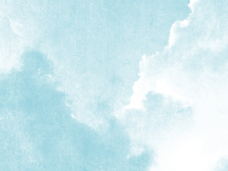 Blue sky and clouds watercolor in soft pale vintage style