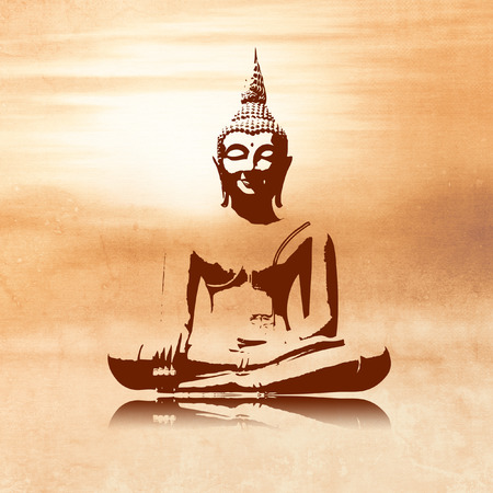 Buddha silhouette in lotus position against light orange sunrise background in painting style - meditation concept