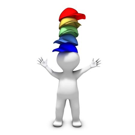 Foto de The person wearing many hats has a lot of different responsibilities - Imagen libre de derechos
