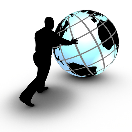 This concept illustration shows a businessman that manages a world wide project by rolling the globe  The project advances and is under control