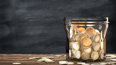 Mason jar full of tossed coins. This illustration is a metaphor for financial saving. 3D render.