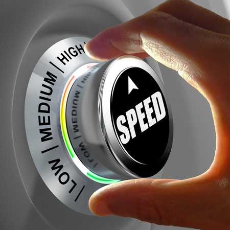 Foto de Hand rotating a button and selecting the level of speed. This concept illustration is a metaphor for choosing the level of speed (internet, data, processor...). Three levels are available: low, medium and high. - Imagen libre de derechos