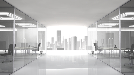 Pleasant workplace with urban view. The offices and meeting rooms are separated by walls of glass.