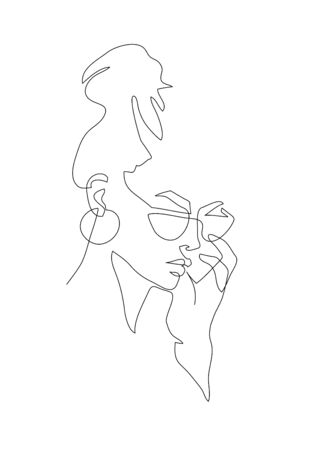 Ilustración de Young woman portrait. Continuous line drawing. Fashion vector illustration - Imagen libre de derechos