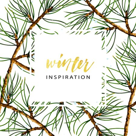 Illustration for Vector cover template of pine branches, realistic botanical illustration. Seasonal winter wallpaper. - Royalty Free Image