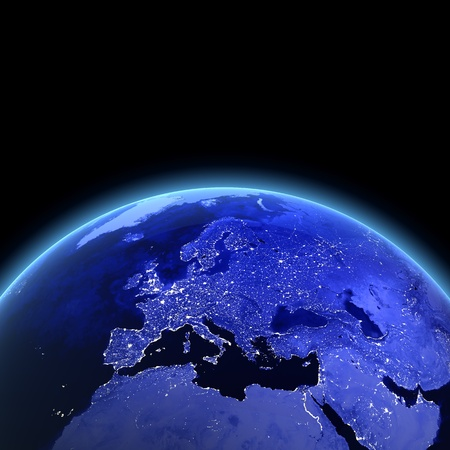 Europe 3d render. Maps from NASA imagery
