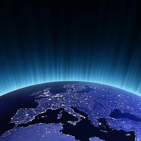 Europe at night. Maps from NASA imagery