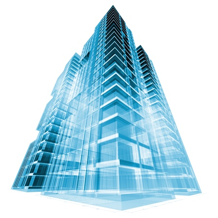 Modern building. 3d render concept