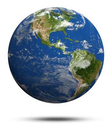 Foto de Planet Earth 3d render. Earth globe model, maps courtesy of NASA - Imagen libre de derechos