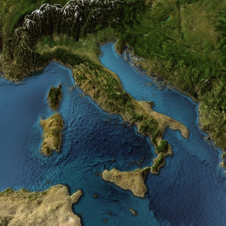 Italy. 3d landscape with shadows, transparent water. Maps courtesy of NASA