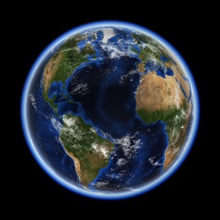 Atlantic  Earth space model, maps courtesy of NASA