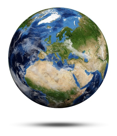 Foto de Planet Earth  Earth globe 3d render, maps courtesy of NASA - Imagen libre de derechos