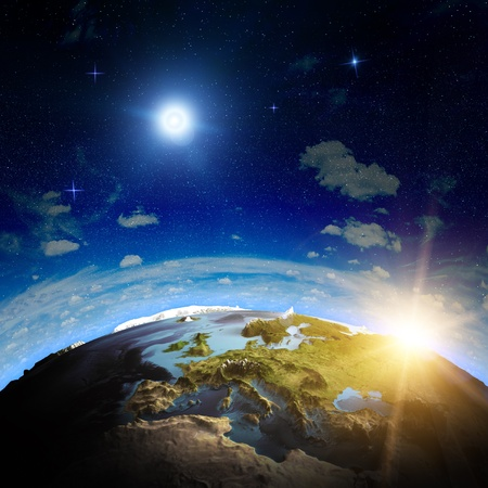 Foto de Europe sunrise  Elements of this image furnished by NASA - Imagen libre de derechos