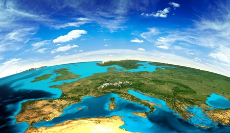 Photo pour Europe landscape from space. Elements of this image furnished by NASA - image libre de droit