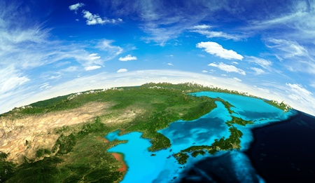 Photo for Japan and Korea landscape from space.  - Royalty Free Image