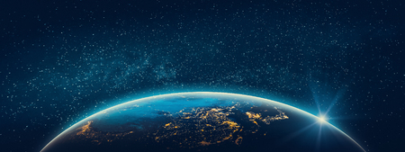 Foto de Planet Earth - Asia city lights. 3D Rendering. Stars my own photo. - Imagen libre de derechos