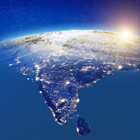 Photo pour India from space.  3d rendering - image libre de droit