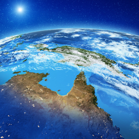 Photo pour Papua New Guinea and North Australia. Elements of this image furnished by NASA. 3d rendering - image libre de droit
