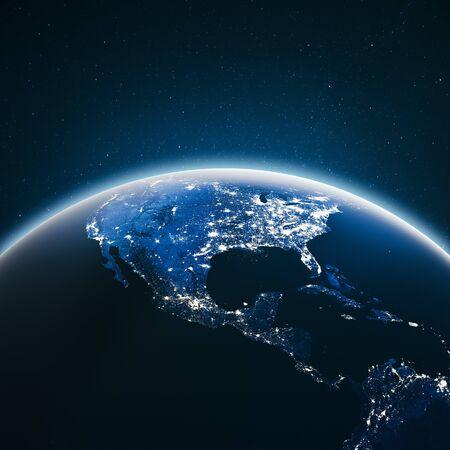 Photo pour City lights United States.  3d rendering - image libre de droit