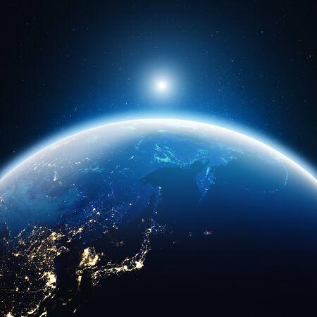Photo pour City lights Japan and East Russia.  3d rendering - image libre de droit