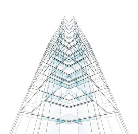Photo pour Construction modern architecture. White isolated. 3d rendering - image libre de droit