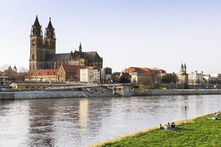 View of the city of Magdeburg and the river Elbe in Saxony Anhalt Germany