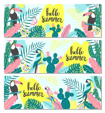 Illustration pour Set of tropical banner with toucan, flamingos, parrot, cactuses and exotic leaves. Vector illustration - image libre de droit