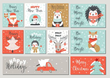 Ilustración de Merry Christmas and Happy New Year greeting card set with  hand drawing elements. Vector illustrations - Imagen libre de derechos