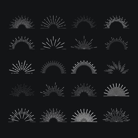 Ilustración de Set of vintage linear sunbursts. Vector illustration - Imagen libre de derechos