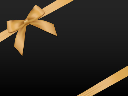 Illustration pour Gold Bow with ribbons. Shiny holiday gold satin ribbon on black background. Gift coupon, voucher, card template. - image libre de droit
