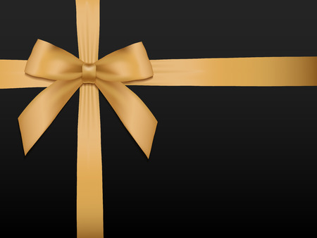 Ilustración de Gold Bow with ribbons. Shiny holiday gold satin ribbon on black background. Gift coupon, voucher, card template. Vector illustration. - Imagen libre de derechos