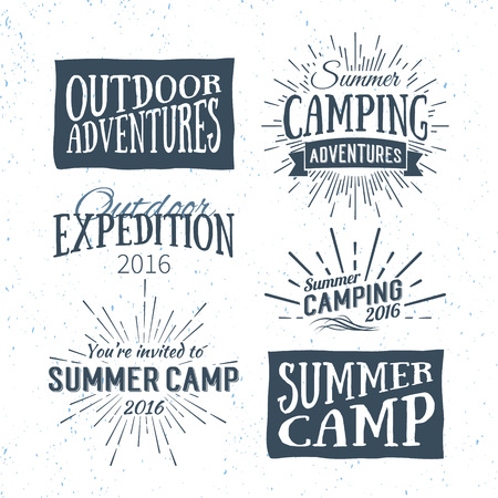 Ilustración de Vintage summer camp badges and outdoor adventure logos, emblems and labels. Camping Vector typographic retro Design Element. Holiday camping lettering for invitation, greeting card, prints and posters - Imagen libre de derechos