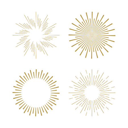 Ilustración de Retro Sun burst shapes. Vintage starburst logo, labels, badges. Sunburst minimal logo frames. Vector firework design elements isolated. Sun burst light logo. Minimal vintage gold firework burst. - Imagen libre de derechos