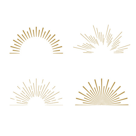 Ilustración de Retro Sun burst shapes. Vintage starburst logo, labels, badges. Sunburst minimal logo frames. Vector firework design elements isolated. Sun burst light logo. Minimal vintage gold firework burst icon - Imagen libre de derechos